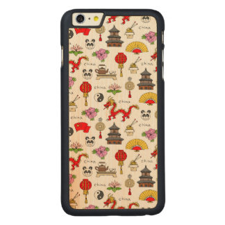 China Symbols Pattern Carved Maple iPhone 6 Plus Case