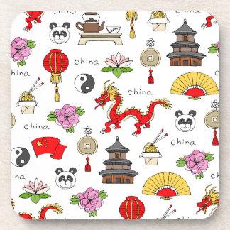 China Symbols Pattern Coaster