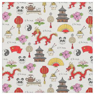 China Symbols Pattern Fabric