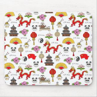 China Symbols Pattern Mouse Pad