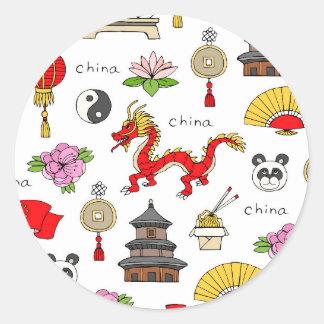 China Symbols Pattern Round Sticker