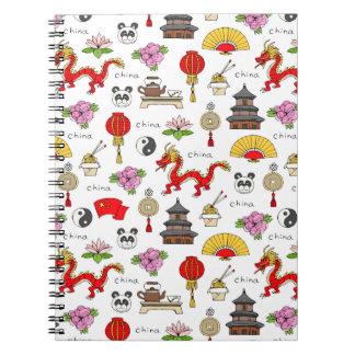 China Symbols Pattern Spiral Notebook