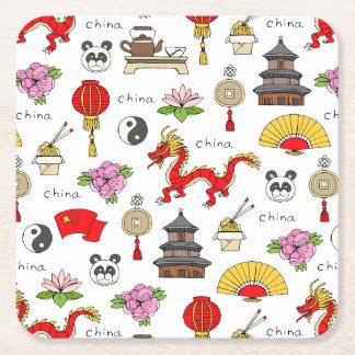 China Symbols Pattern Square Paper Coaster