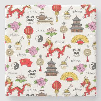 China Symbols Pattern Stone Coaster