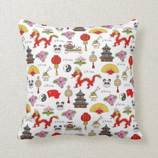 China Symbols Pattern Throw Pillow