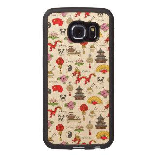 China Symbols Pattern Wood Phone Case