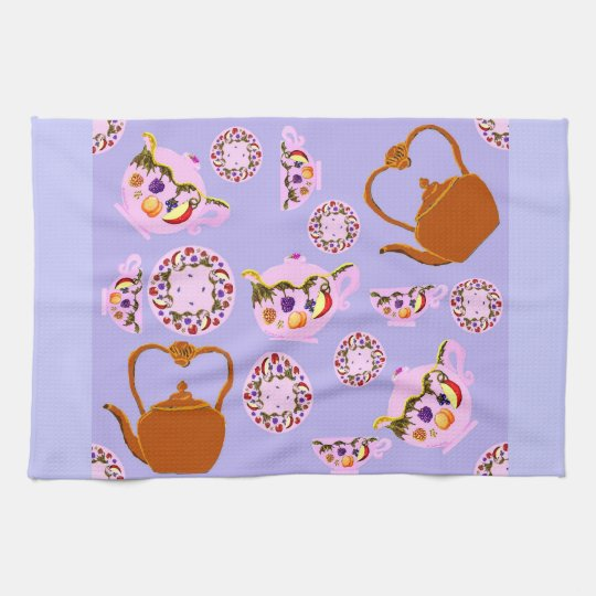 China Teapot Teacup Plate & Copper Teakettle Ameri Hand Towels