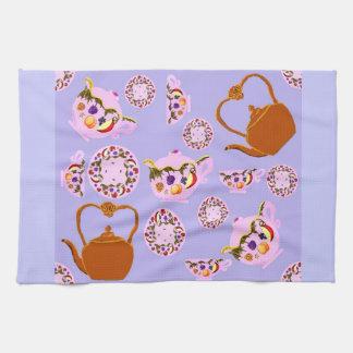 China Teapot Teacup Plate & Copper Teakettle Ameri Kitchen Towel