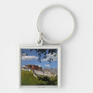 China, Tibet, Lhasa, Potala Palace Silver-Colored Square Keychain