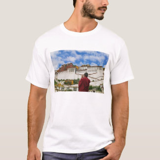 China, Tibet, Lhasa, Tibetan monk with Potala T-Shirt