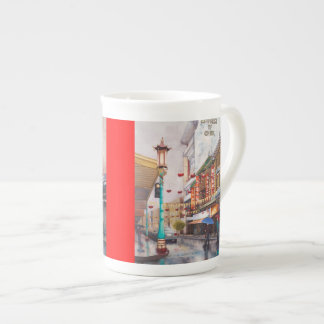 China Town with red bone china Tea Cup