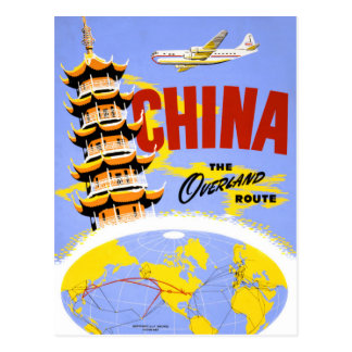 China Vintage Travel Poster Restored Postcard