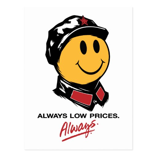 china walmart smiley face mao always low prices post card