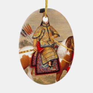 China's Qianlong Emperor 乾隆帝 in Ceremonial Armour Ceramic Oval Ornament