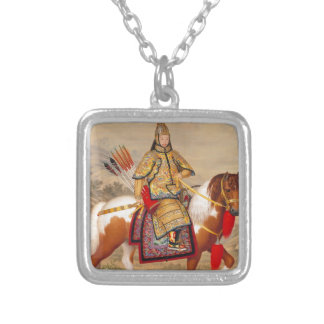 China's Qianlong Emperor 乾隆帝 in Ceremonial Armour Silver Plated Necklace