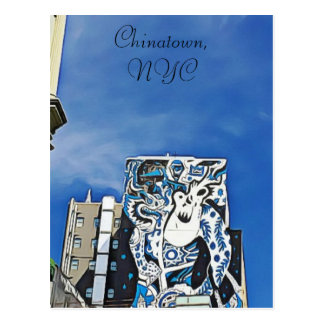 Chinatown Graffiti on Building in NYC Postcard