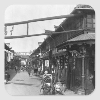 Chinatown in Shanghai late 19th century Square Sticker