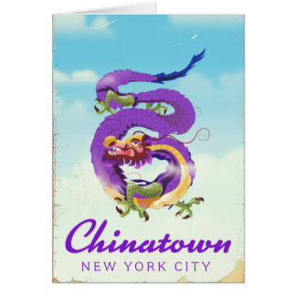 Chinatown New York city vintage poster Card
