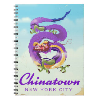 Chinatown New York city vintage poster Notebook