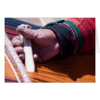 Chincheros woman making alpaca yarn 3 card