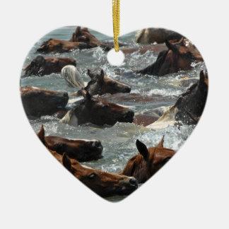 Chincoteague Pony Swim Ceramic Ornament