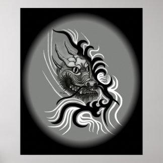 Chine-dragon dans un tatouage de style poster