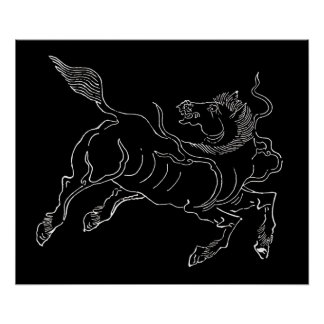 Chinese ancient sea horse white poster