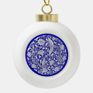 Chinese antique double phoenix design ceramic ball christmas ornament