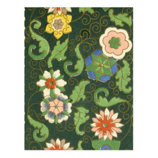 Chinese Antique Floral Pattern Postcard