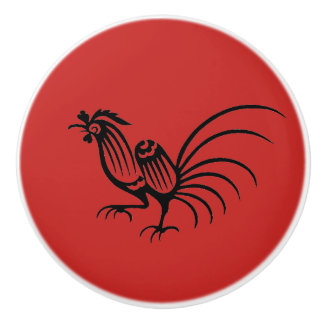 Chinese Art Rooster Ceramic Knob
