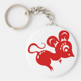 Chinese Astrology Rat Illustration Basic Round Button Keychain