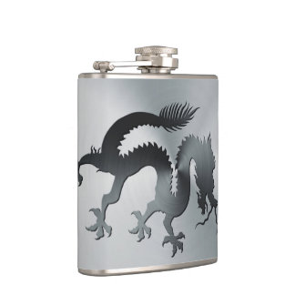 Chinese banner dragon engraved on brushed metal hip flask