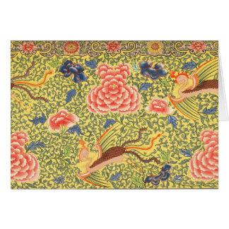 Chinese Bird & Flower Design Notecard