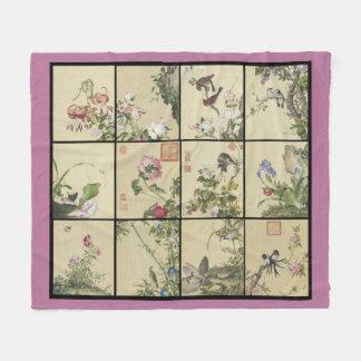 Chinese Birds Flowers Animals Fleece Blanket