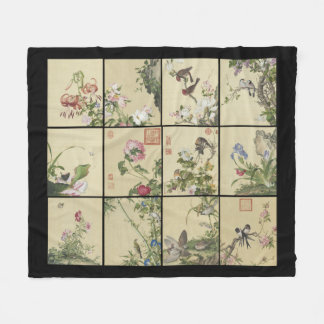 Chinese Birds Flowers Animals Fleece Blanket
