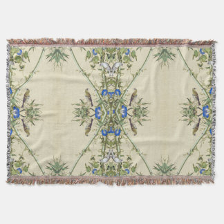 Chinese Blue Flowers Birds Bamboo Throw Blanket