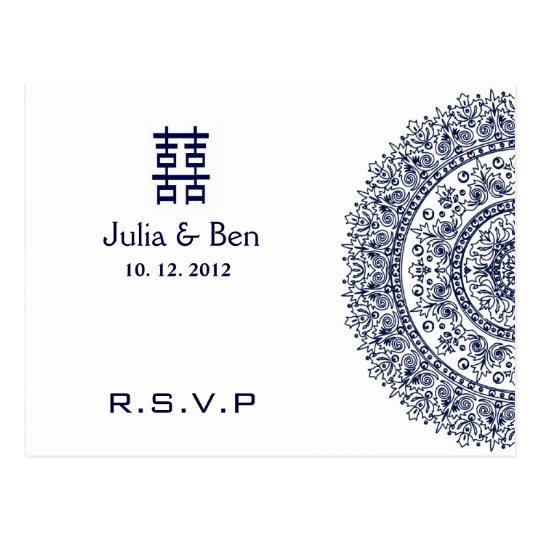 Chinese Blue White Porcelain Double Happiness RSVP Postcard