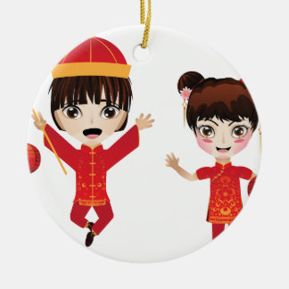Chinese Boy and Girl Ceramic Ornament