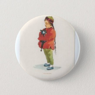 Chinese Boy and Playmate 2 Inch Round Button