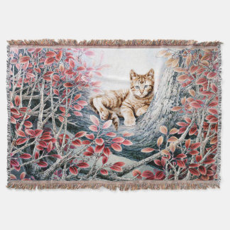 Chinese Cat Art Throw Blanket