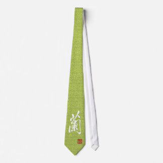 "Chinese Character ""Orchid"" With Seal Tie"