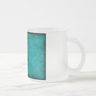 Chinese Character Painting for Courage in Blue Frosted Glass Coffee Mug