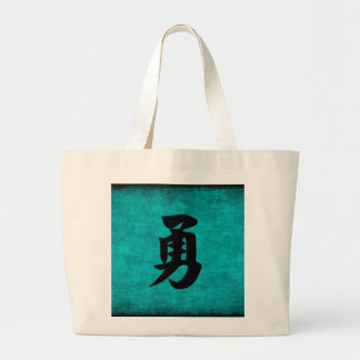 Chinese Character Painting for Courage in Blue Large Tote Bag