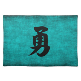 Chinese Character Painting for Courage in Blue Placemat