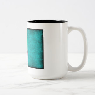 Chinese Character Painting for Courage in Blue Two-Tone Coffee Mug