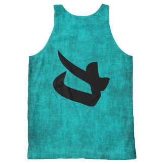 Chinese Character Painting for Strength in Blue All-Over-Print Tank Top