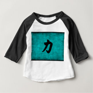 Chinese Character Painting for Strength in Blue Baby T-Shirt