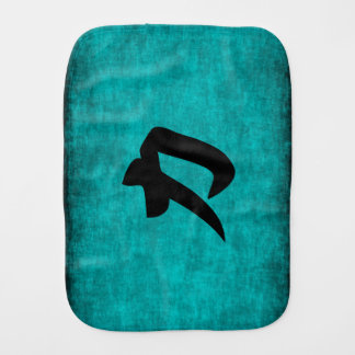 Chinese Character Painting for Strength in Blue Burp Cloth