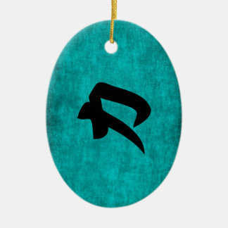 Chinese Character Painting for Strength in Blue Ceramic Ornament