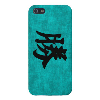 Chinese Character Painting for Success in Blue Cover For iPhone 5/5S